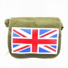 Union Jack Flag Canvas Messenger Bag - Green
