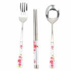 Elegant Flowers Pattern Stainless Steel Knife + Fork + Chopsticks Tableware Set - Pink + Silver