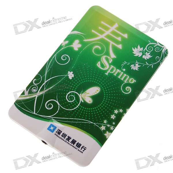 Credit Card Style USB Rechargeable MP3 Player - Spring (2GB)