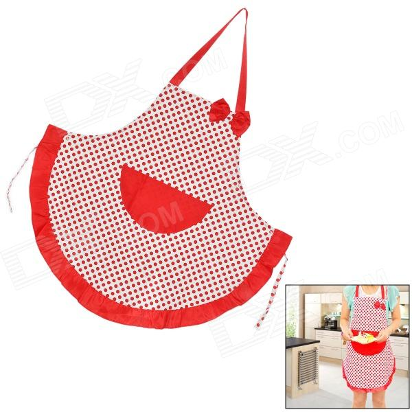 T12311 Cute Polka Dot Pattern + Bow Kitchen Cooking Canvas Apron - Red + White t54648 fashionable bow kitchen cooking cotton apron red black