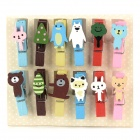 SV13-235 Cute Animal Style Wooden Photo Memo Clips - Multicolored (12 PCS)