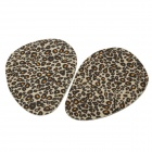 Leopard Pattern Silicone Forefoot Insole Pads - Black + Yellow (Pair)