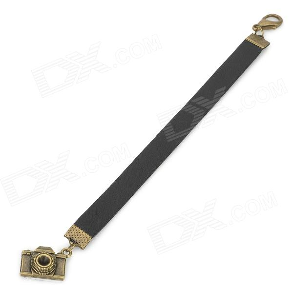 Anti-Lost Lens Cover Cap PU Lanyard Strap for DSLR / Film Camera  - Black + Antique Brass