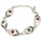 Novel Stylish Eye Style Pendant Charm Bracelet - Silver