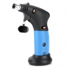 Windproof 1300'C Dual Flame Lockable Butane Jet Lighter Torch w/ Base Holder - Blue + Black