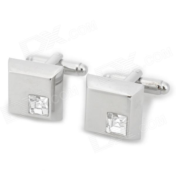 Luxurious Shiny Crystal Inlaid Rectangular Decorative Cuff-links for Men - Silver (2 PCS)