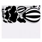 PAG Hot Air Balloon Pattern Home Room / Wall Decorative Removable Sticker - Black