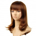 8065 Fashionable Tilted Bang Long Curly High-temperature Resistant Fiber Hair Wig - Light Brown