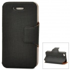 Protective PU Leather Flip-Open Case for Iphone 4S - Black
