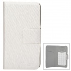 Multifunction Protective PU Leather Flip-Open Case for Iphone 4S / 5 / Samsung i9300 - Silver White