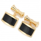 Luxurious Chain Style Decorative Cuff-links for Men - Golden + Black (2 PCS)