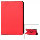 360 Degrees Rotation Protective PU Leather Flip-Open Case for iPad Mini - Red