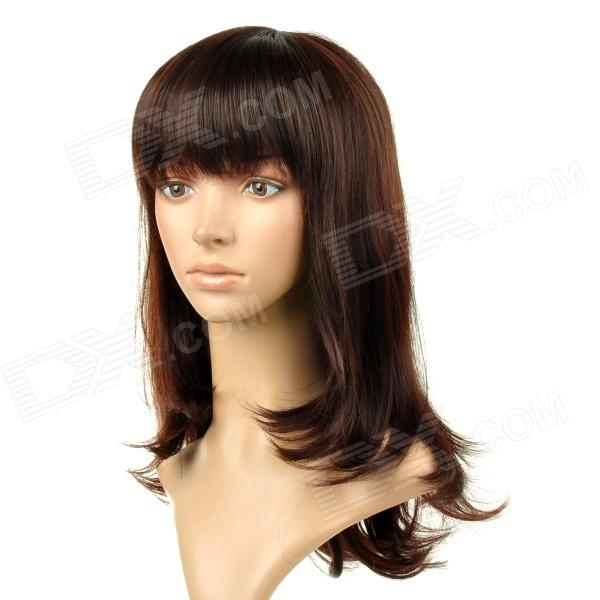 8065 Fashionable Tilted Bang Long Curly Högtemperaturbeständig Fiber Hair Wig - Blackish Red