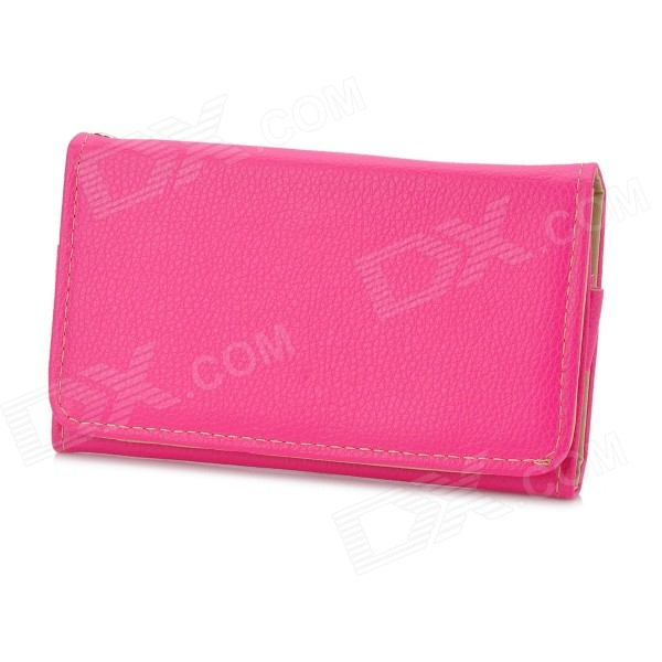 Stylish Protective PU Leather Bag Case for Samsung i9300 / i9500 / Iphone 4 / 4S / 5 - Deep Pink protective pu leather pouch bag for iphone 5 4 4s coffee