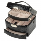 Alligator Grain PU Leather Triple Layers Jewelry Ornaments Square Storage Case w/ Lock / Mirror