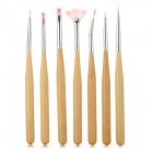 Nail Art Wood + Artificial Hair Acrylic / UV Gel Top Coat Brush Pen - Yellow + Silver (7 PCS)