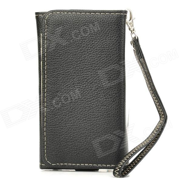 Stylish Protective PU Leather Bag Case for Samsung i9300 / i9500 / Iphone 4 / 4S / 5 - Black protective pu leather pouch bag for iphone 5 4 4s coffee