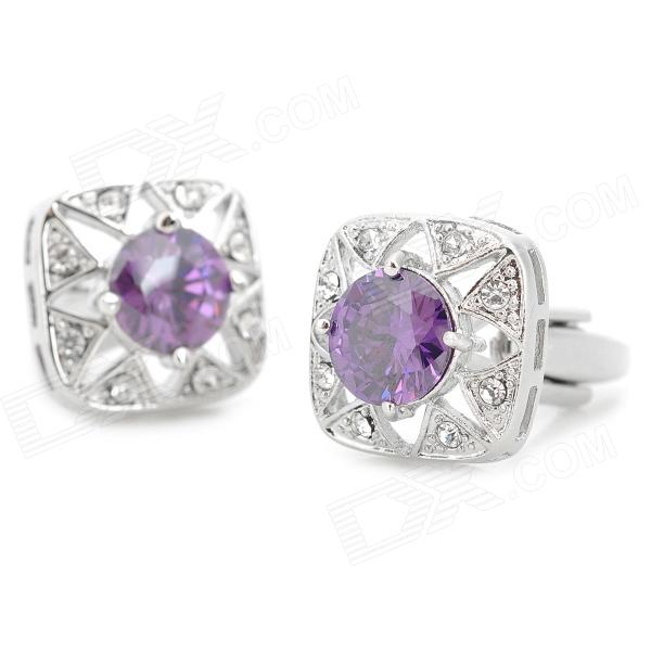 Luxurious Shiny Crystal Inlaid Decorative Cuff-links for Men - Purple + Silver (2 PCS)