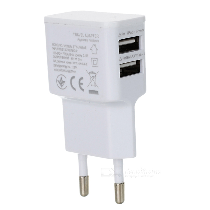 Universal Dual USB EU Plug AC Power Adapter Charger - White (100~240V) цена и фото