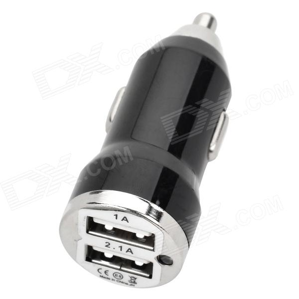 Bullet Shaped Dual USB Car Cigarette Lighter Adapter Charger - Black (12~24V)