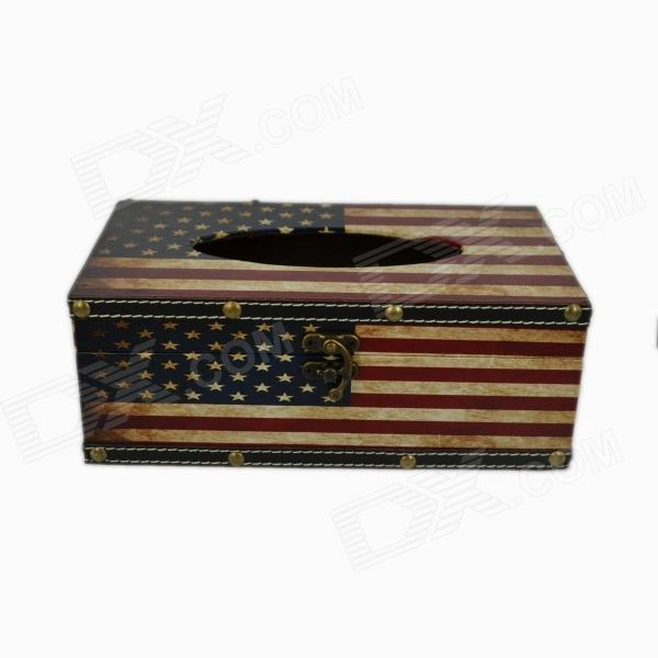 Creative American Flag Wooden Tissue Box Case - Red + Blue + Beige