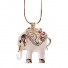 Fashionable Opal Elephant 18K Gold Plated Zinc Alloy Pendantfor Woman - Ivory + Gold