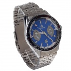 ORKINA P0028 Fashionable Men's Quartz Analog Wrist Watch w/ Calendar - Silver + Blue (1 x LR626)