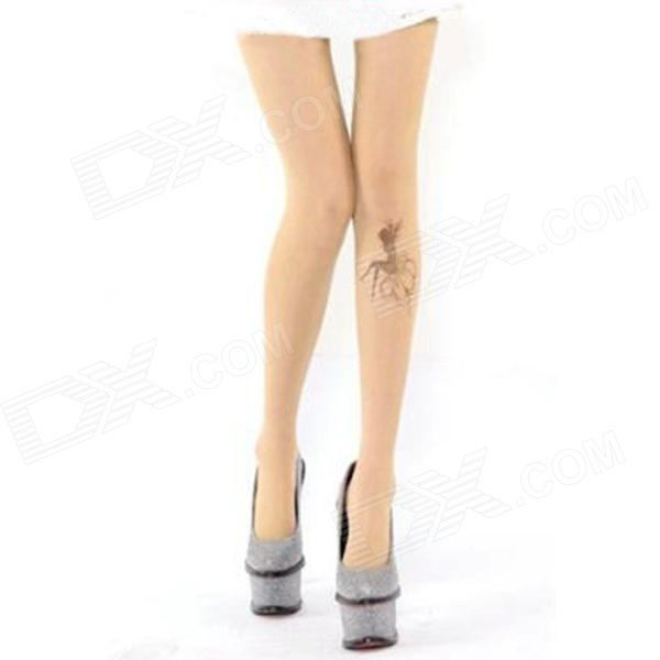 Printing Tattoo Pattern Fashionable Spandex Yarns Pantyhose Stockings - Beige