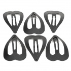 Unique Love Heart Style Zinc Alloy Hair Pin Bangs Clip - Black (6 PCS)