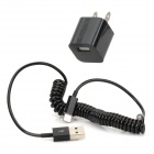 2-Flat-Pin Plug Power Adapter w/ Gold-Plating 8 Pin Lightning Curled Data Cable - Black (100~240V)