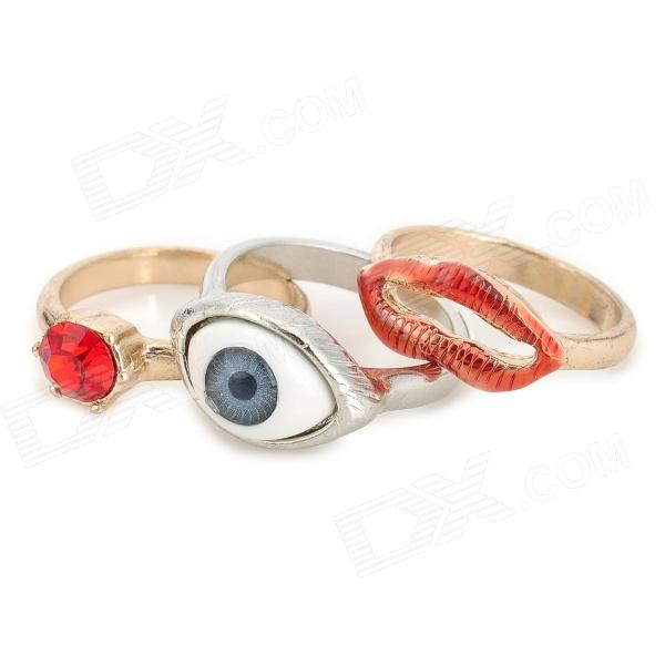 Stylish Eye + Lip + Red Rhinestone Decoration Rings Set (3 PCS) 100pcs lot 3mm 3 mm 3 17mm 3 17 mm rc prop propeller protector saver include rubber band o ring o ring free shipping