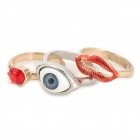 Stylish Eye + Lip + Red Rhinestone Decoration Rings Set (3 PCS)