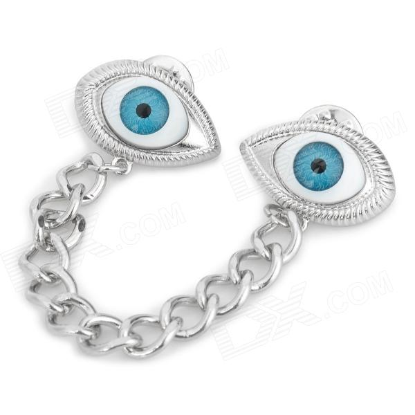 Stylish Eye Style Adornment Decorative Collar Clip - Silver