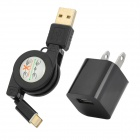 AC Charging Adapter Charger + Retractable USB to 8-Pin Lighting Cable for iPhone 5 - Black (US Plug)