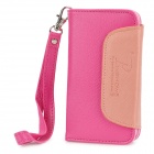 Protective PU Leather Flip-Open Case w/ Strap / Magnetic Button for Iphone 4 / 4S - Deep Pink