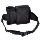 Outdoor Sport Nylon Water Bottle Waist Bag - Black