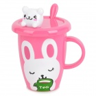 Cute Rabbit Pattern Cup w/ Lid / Spoon - Pink
