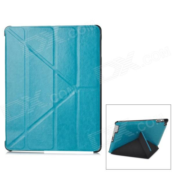 Protective PU Leather Folding Case for Ipad 3 / 4 - Blue ipad 4 in 1 photo lens