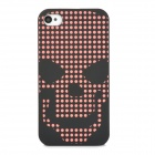 Fashion Skull Head Pattern Grow-in-the-Dark Back Case for Iphone 4/4S - Black + Red