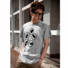 Stilvolle Rock Paper Scissors Pattern Cotton T-Shirt - Grau (M)