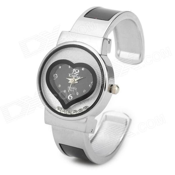 Fashionable Woman's Heart Shaped Quartz Analogue Wrist Watch - Silver + Black (1 x 377 ) womage chic pencil shaped hour hands style quartz wrist watch with white dial for women hot pink