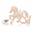 Flying Horse Rhinestone Decoration Ear Nail Earring - Rose Gold