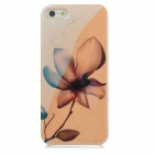 Creative Flower Pattern Blue Reflect Light Back Case for Iphone 5 - Black + Yellow