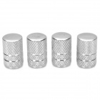 Universal Tubular Shaped Aluminium Alloy Tire Valve Caps - Silver (4 PCS)