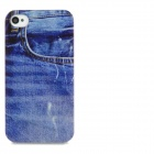 Fashion Jeans Front Pocket Pattern Plastic Back Case for Iphone 4 / 4S - Blue