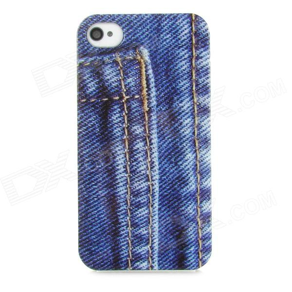 Fashion Jeans Back Pocket Pattern Back Case for Iphone 4 / 4S - Blue battery ac