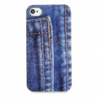 Fashion Jeans Back Pocket Pattern Back Case for Iphone 4 / 4S - Blue