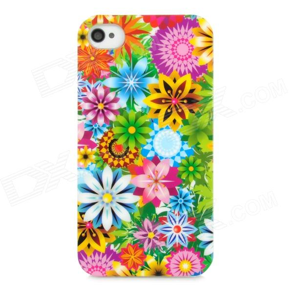 Fashion Colorful Flower Plastic Back Case for Iphone 4 / 4S - Multicolored kinston kst00057 snow flower pattern plastic back case for iphone 4 4s blue multicolored