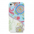 Fashion Love Flower Pattern Plastic Back Case for Iphone 4 / 4S - Multicolored