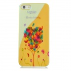 Creative Heart Shaped Butterfly Pattern Blue Reflect Light Back Case for Iphone 5 - Yellow